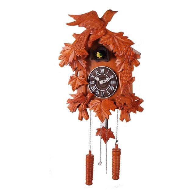 【鐘情坊 JUSTIME】實木造型彫刻石英咕咕擺錘鐘掛鐘(14吋經典款鳥與松鼠報時音樂咕咕時鐘時鐘)