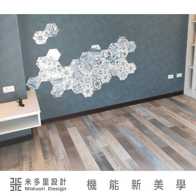 【MIDUOLI米多里】花磚1片加超耐磨地板9坪超值設計組-不含安裝
