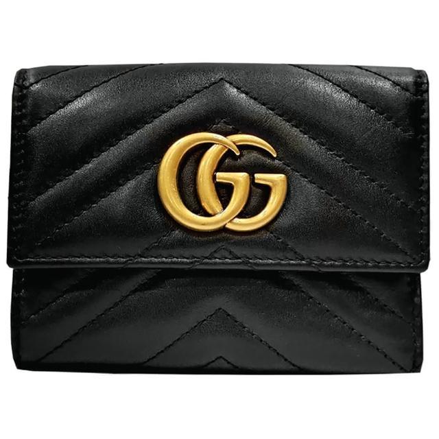 【GUCCI 古馳】474802 GG Marmont系列絎縫人字形條紋牛皮中夾(黑色)