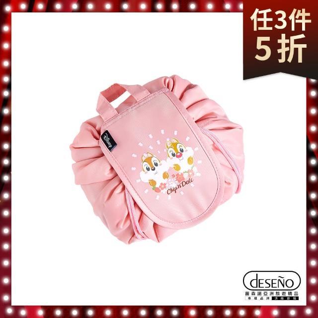 【Deseno】Disney 春漾浪漫旅行花苞束口收納包(奇奇蒂蒂)