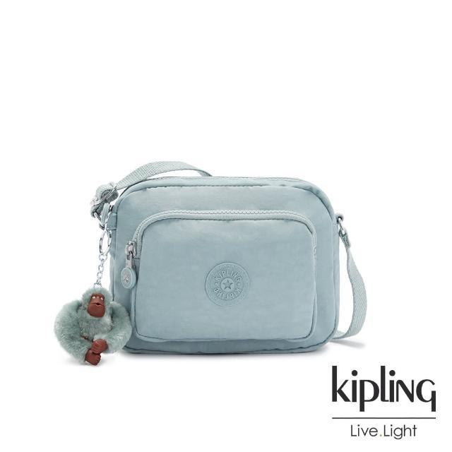 【KIPLING】歡樂繽紛藍雙層側背包-HUBEI
