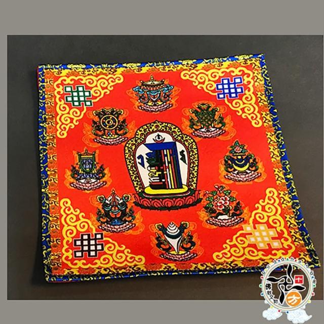 【十方佛教文物】十相自在 八吉祥 紅色桌巾桌布19公分(吉祥圓滿)