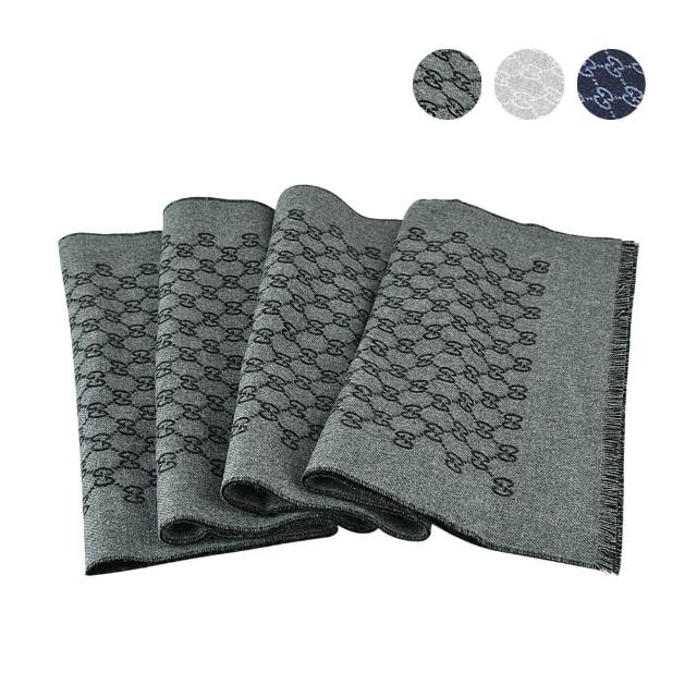 【GUCCI 古馳】GUCCI 經典雙G LOGO柔軟保暖羊毛圍巾(多色)