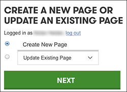 Click Create New Page or use the Update Existing Page menu