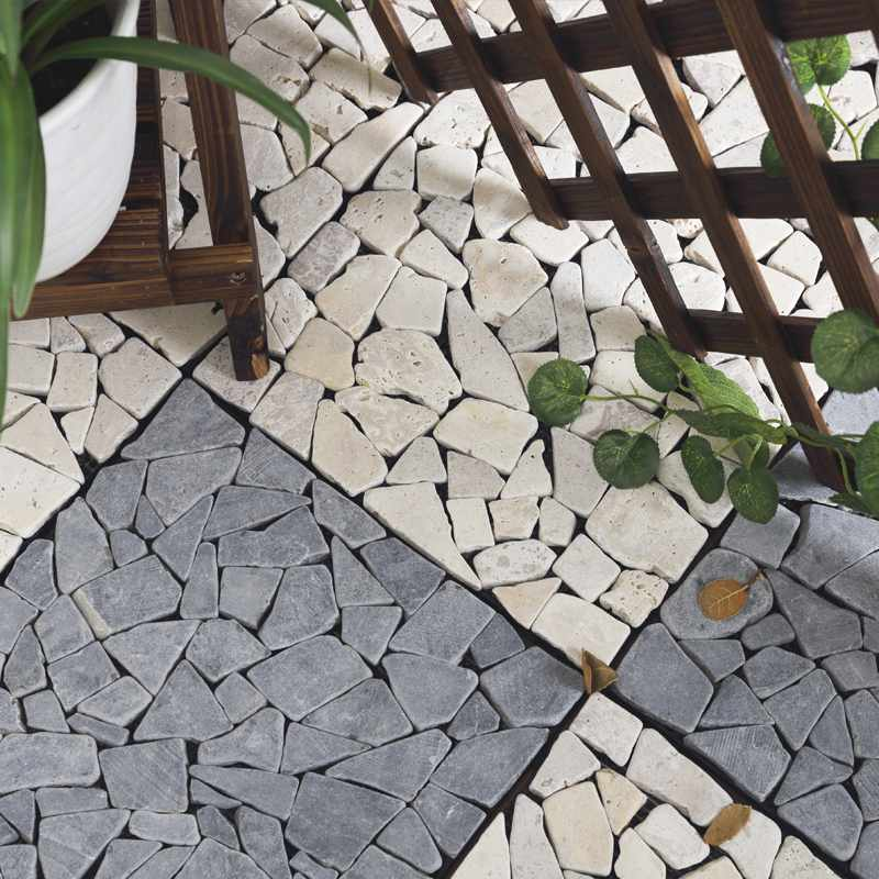 front porch diy natural stone tiles