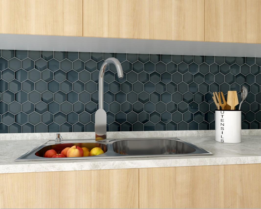 best black glass tile backsplash