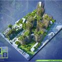 Vista aérea Torres Nido de Bambú. Imágen cortesía de Vincent Callebaut Architecture