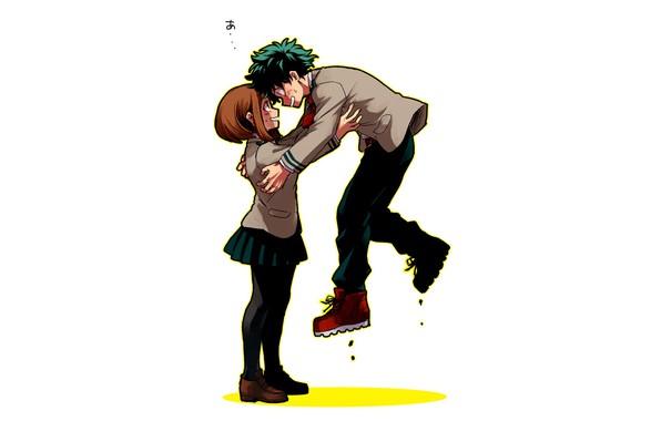 Обои девушка, аниме, арт, парень, двое, левитация, Boku no ...