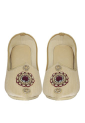 Light Beige Hand Embroidered Mojri