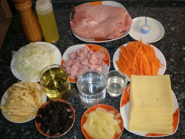 Ingredientes para lomo de cerdo relleno y hervido