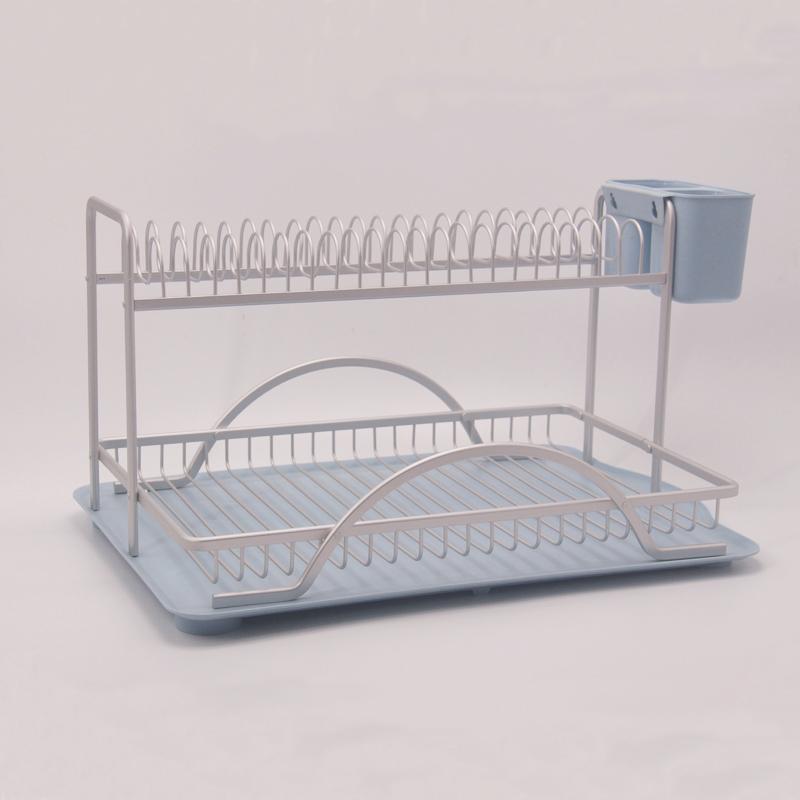 aluminum rustproof 2 tier dish rack leeda