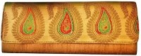 Bhamini Raw Silk Gold Zari Women Party Gold Silk  Clutch