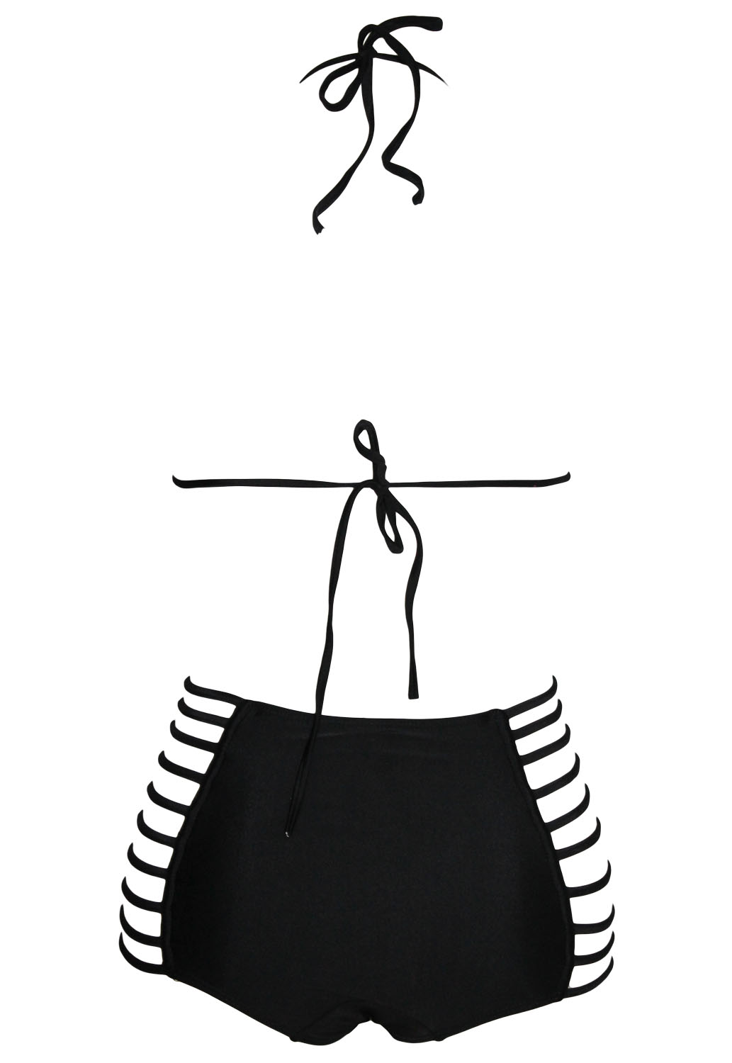 Cheapy Strappy Hollow Out High Waisted Solid Black Two