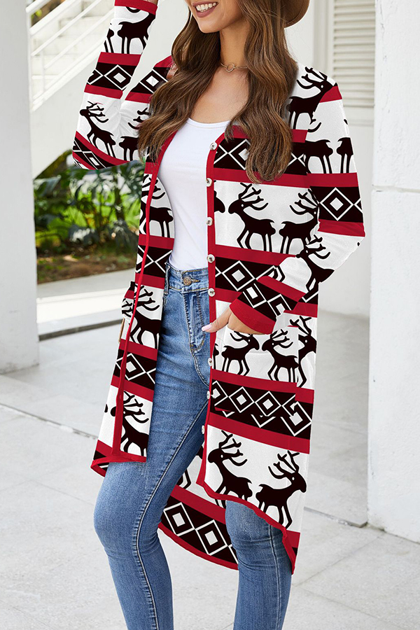 It's a lovely wholesale Christmas. Leisure O Neck Christmas Deer Lovely Black Cardigan