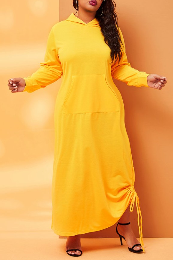 The black Friday sale at  Lovely WholeSale - trendy hooded collar loose fit ankle length yellow dress