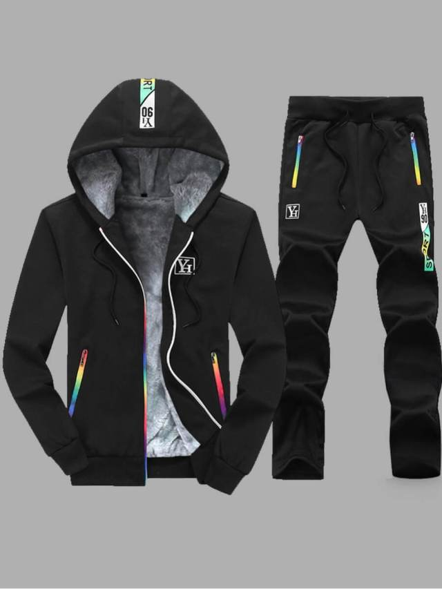 LW lovely Casual Hooded Collar Patchwork Black Men Two-piece Pants Set