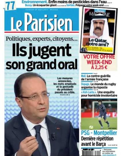Le Parisien Vendredi 29 Mars 2013