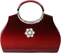 O4U Wedding, Party Red, Brown Rexine, Leather  Clutch