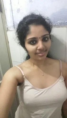Tamil Girl Nude Selfies in Bathroom Showing Boobs