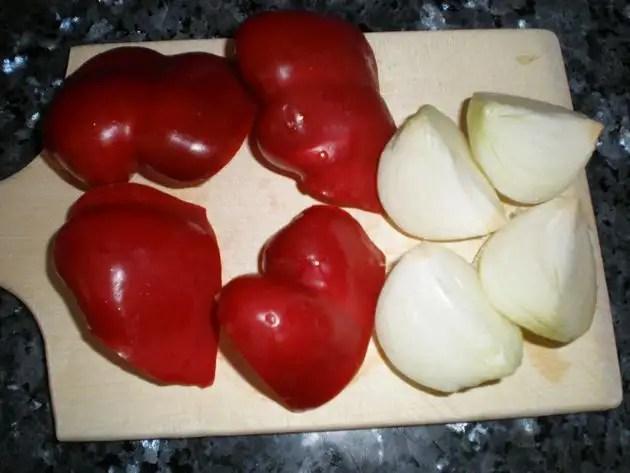 Cebolla y pimiento rojo