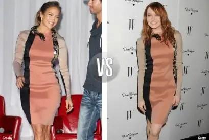 noticias Emma Stoney y JLo con el mismo vestido