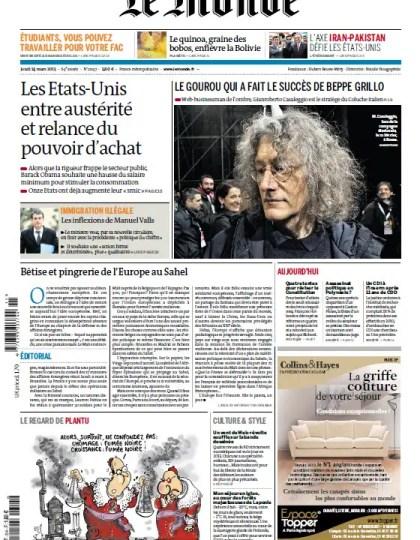Le Monde Jeudi 14 Mars 2013