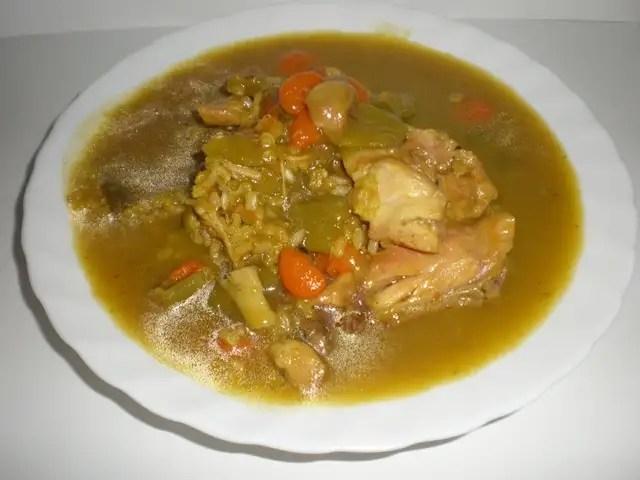 Arroz integral caldoso con pollo