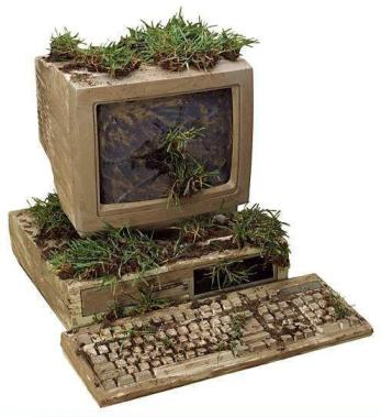 komputer usang, computer vase, computer kreatif