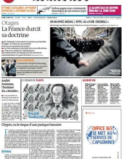 Le Monde du Mardi 19 Mars 2013