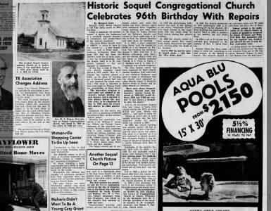 Santa Cruz Sentinel 17 May 1964 | Historic Sequel Church Celebrates 96 Years