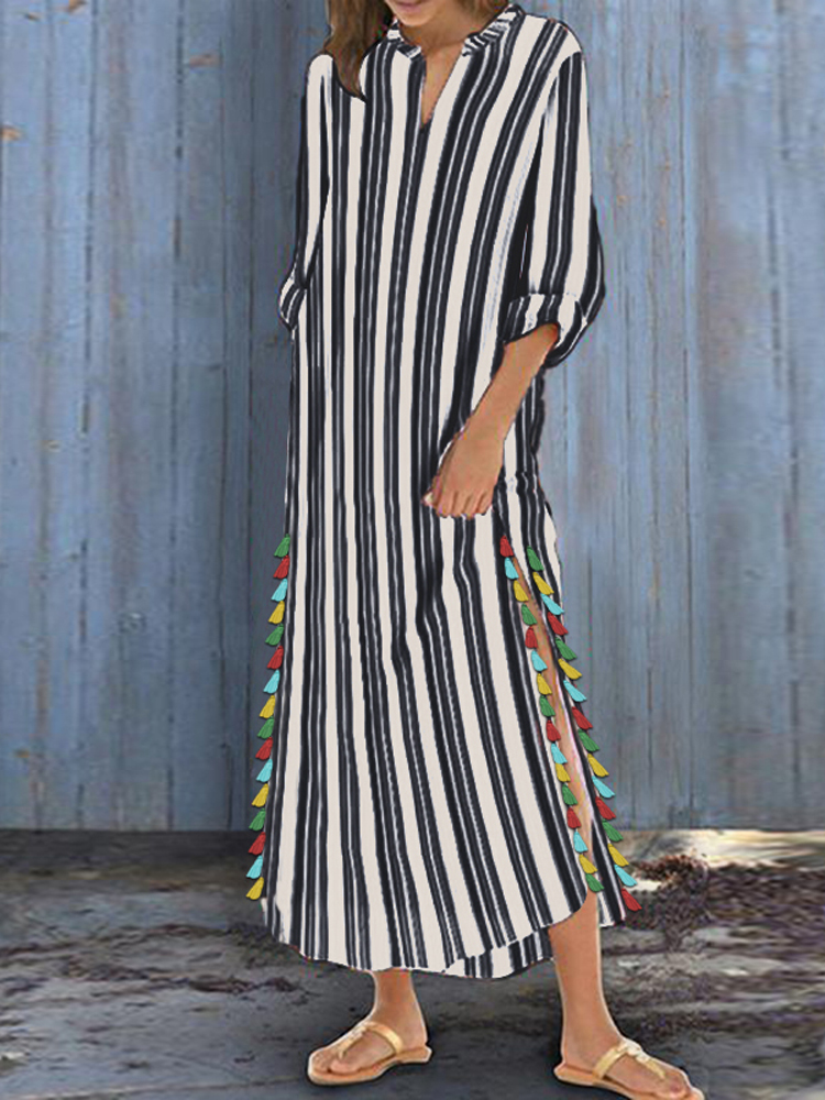 Women Striped Boho Side Slit Tassel Baggy Loose Kaftan Maxi Dress