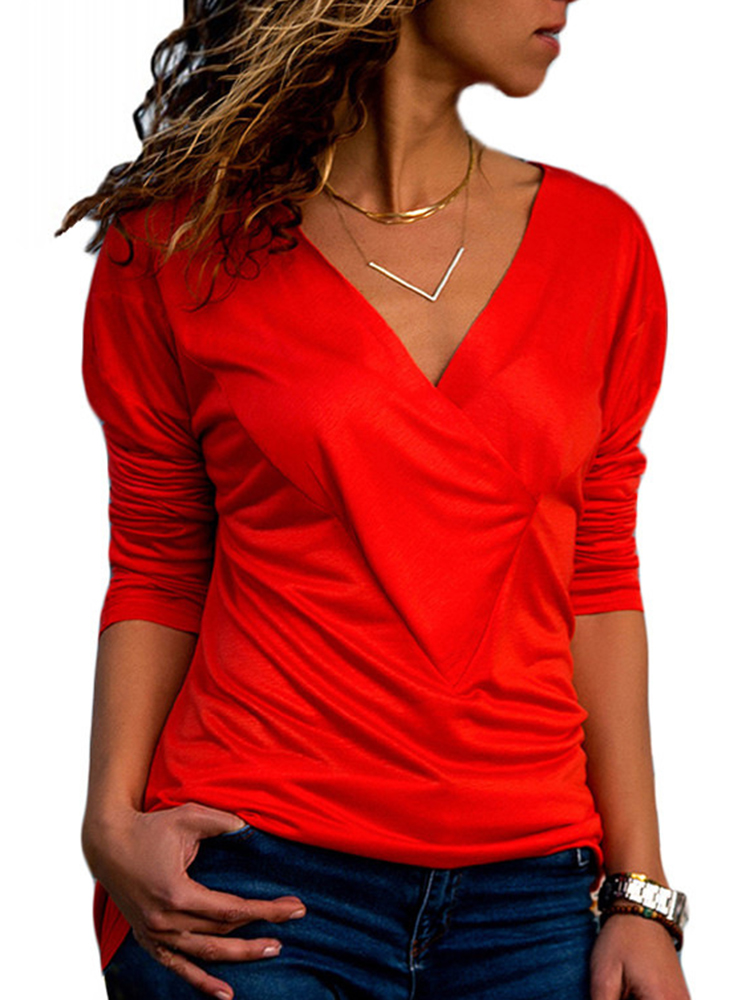 Casual Women V-neck Long Sleeve Pleated T-shirts