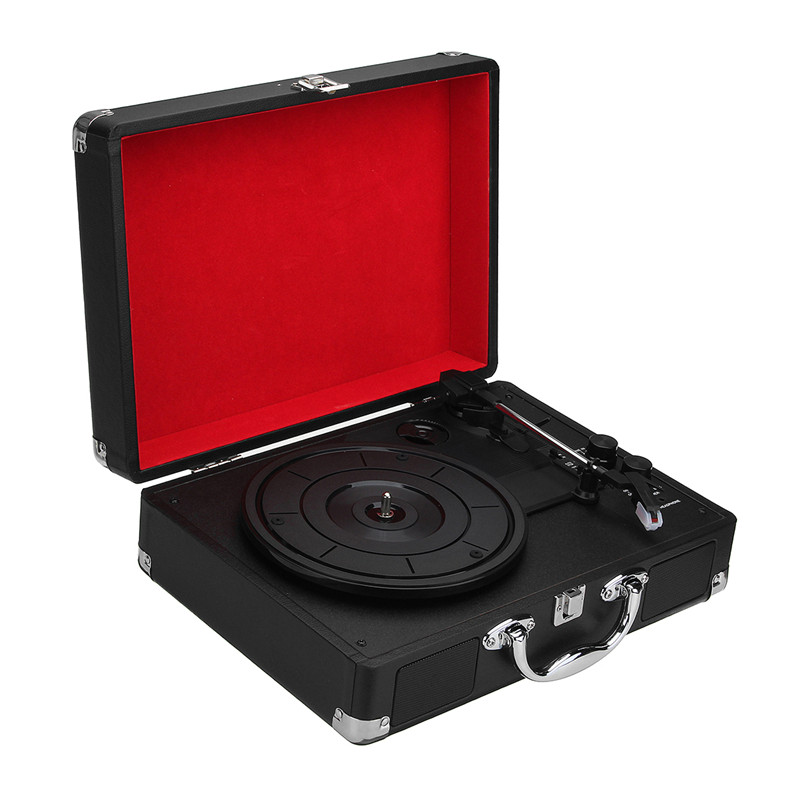 V1 bluetooth Portable Suitcase Record Player 3-Speed Aux-in MP3 Record Player With Speaker 32