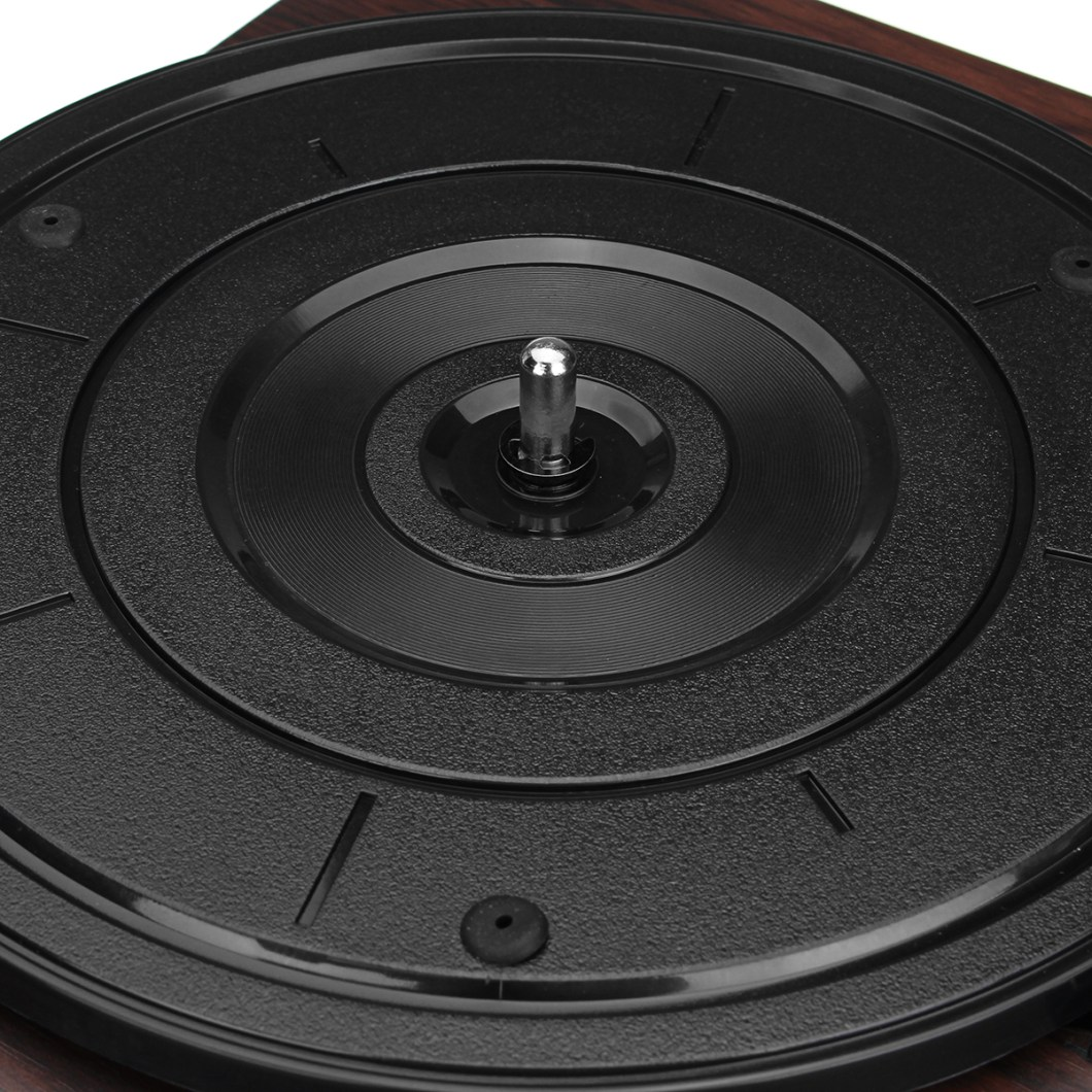 Shenle 33RPM Antique Gramophone Turntable Disc Vinyl Wood Record Player RCA R/L 3.5mm Output USB 33