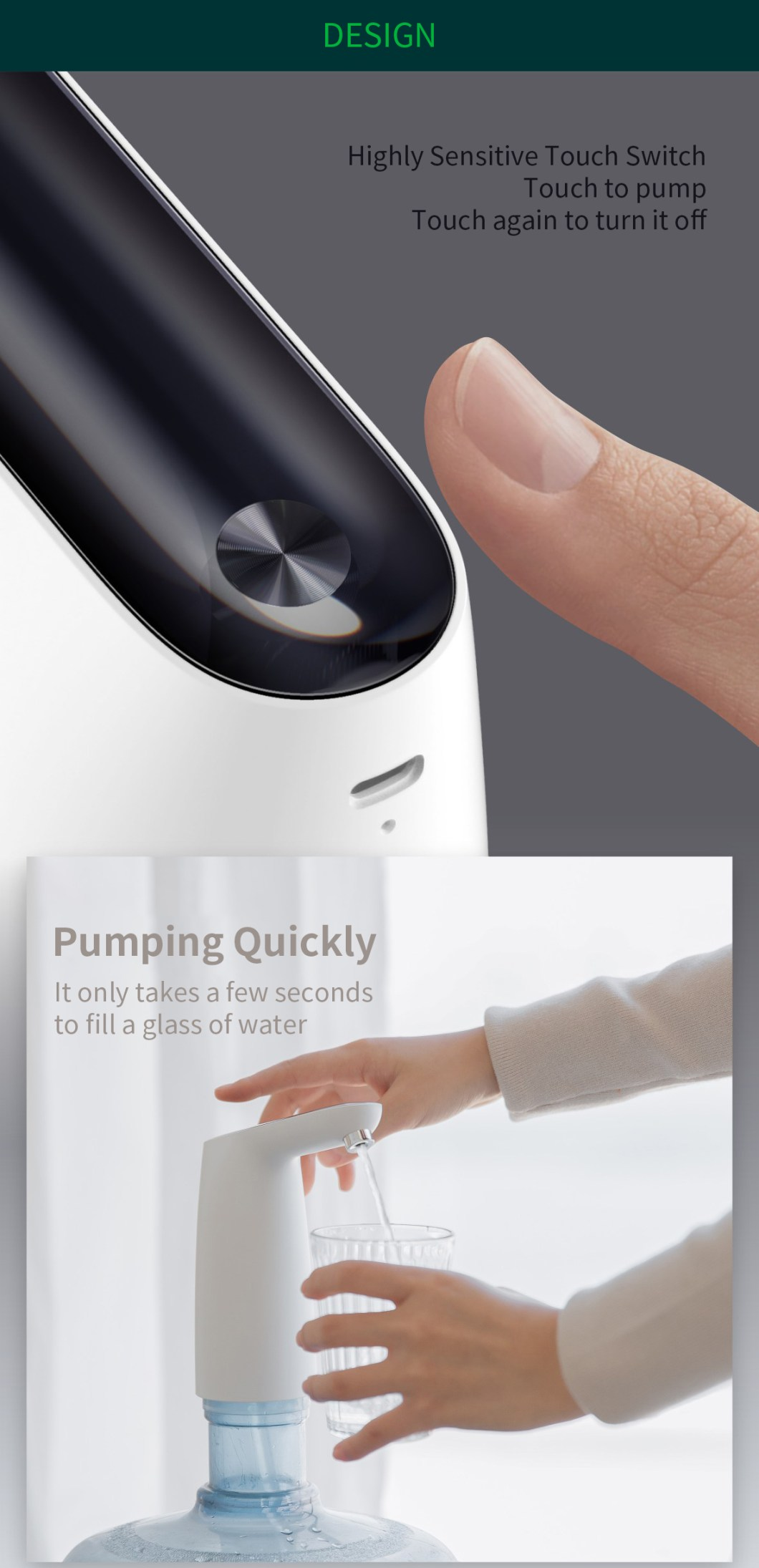 [2019 NEW] Original 3LIFE Automatic USB Mini Touch Switch Water Pump From XIAOMI Youpin Wireless Rechargeable Electric Dispenser Water Pump With USB Cable 32