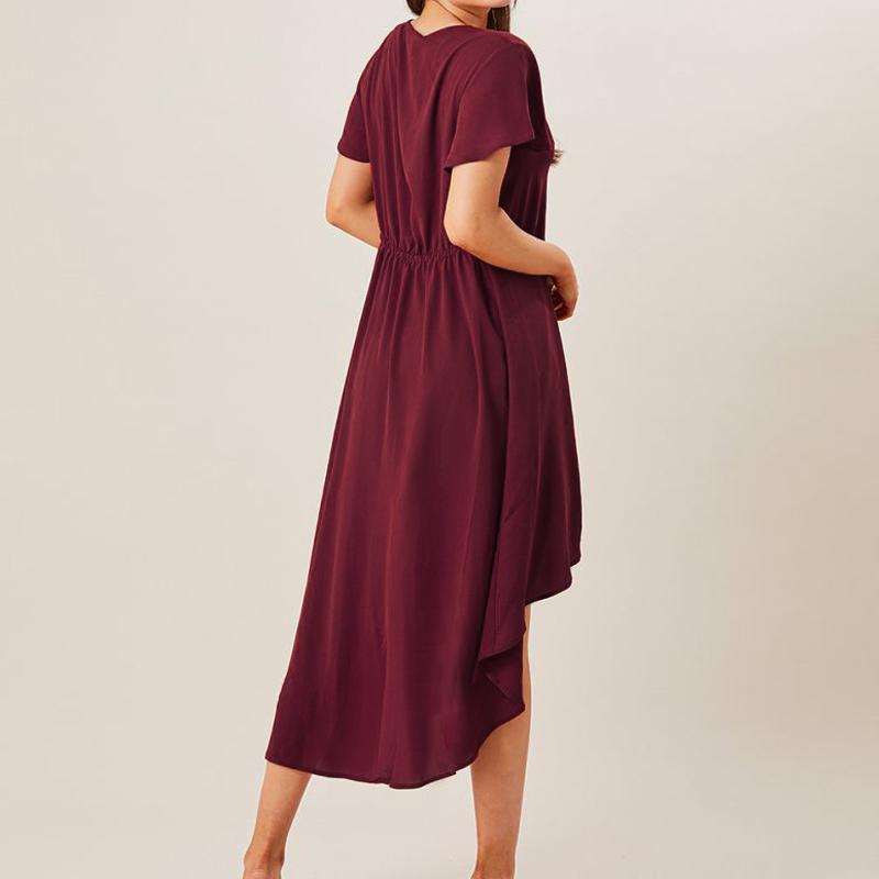 Women Short Sleeve V-neck Solid Color Asymmetric Hem Blouse
