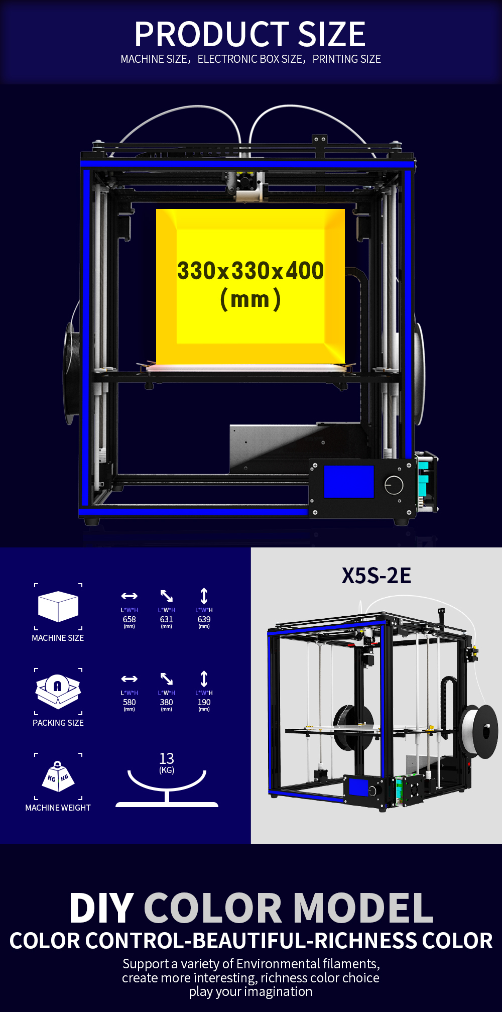 TRONXY® X5S-2E DIY Aluminium 3D Printer 330*330*400mm Printing Size Support Single/Dual/Mixed Color With Dual Z-axis Rod/Knob Button LCD Screen 9