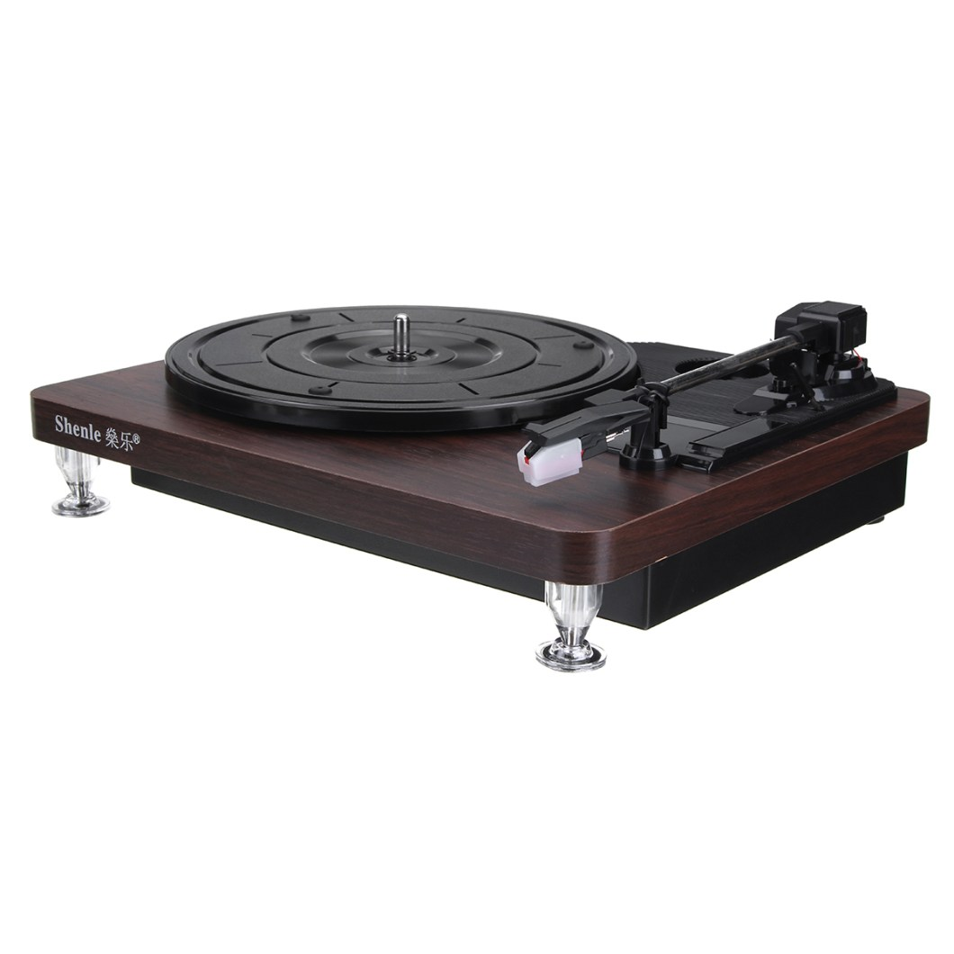 Shenle 33RPM Antique Gramophone Turntable Disc Vinyl Wood Record Player RCA R/L 3.5mm Output USB 30