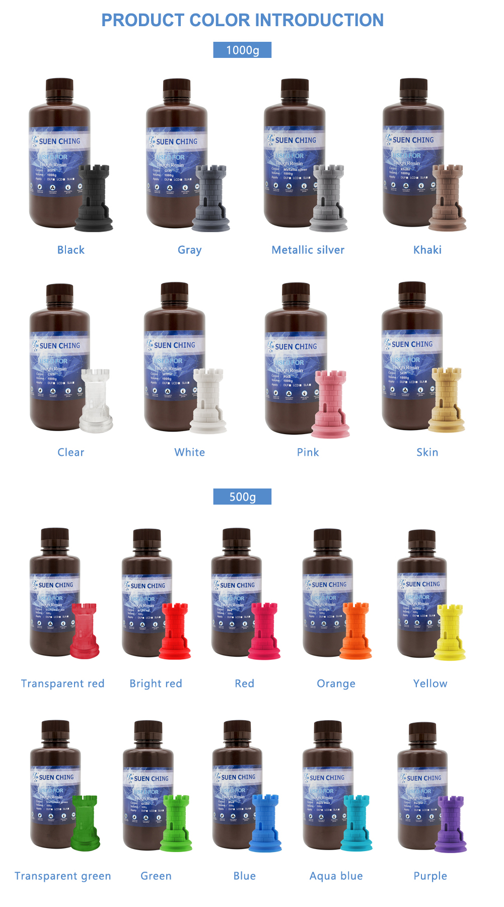 1000g/Bottle Special Color 405nm UV Sensitive Tough Resin