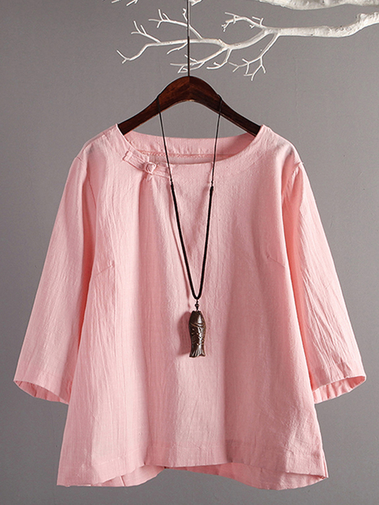 Women Casual Solid Crew Neck Buttons Retro Cotton Blouse