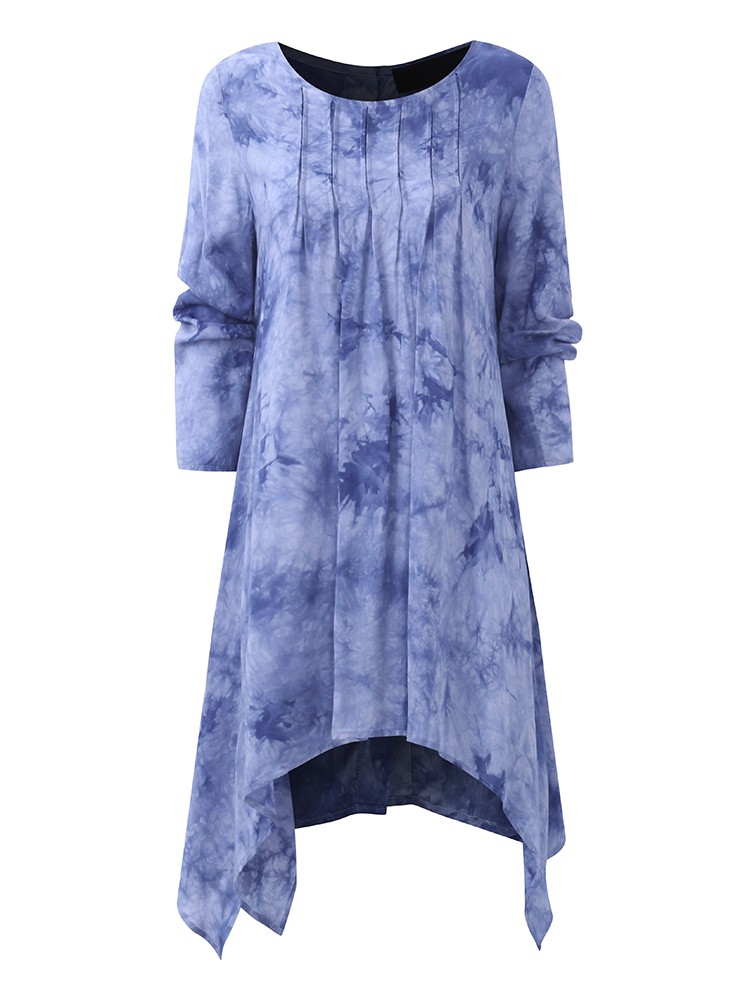 Gracila Casual Printed Long Sleeve Asymmetrical Women Blouses