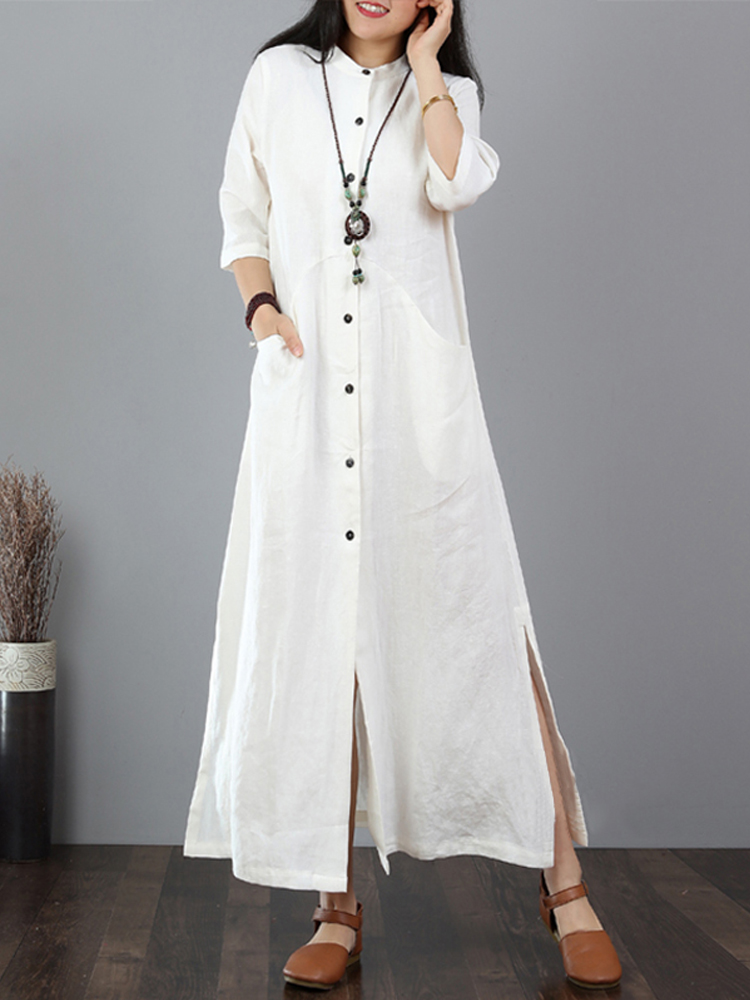 Women Casual Solid Long Button Down Shirt Split Kaftan Dress