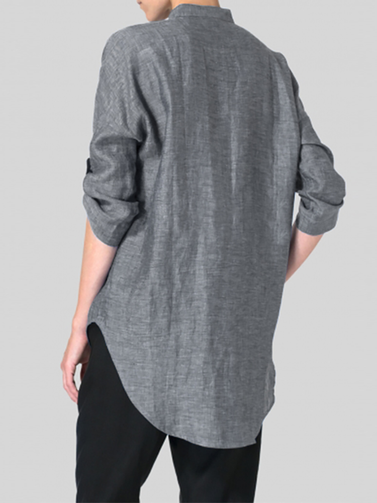 Women Buttons Stand Collar Long Sleeve Loose Casual Blouse