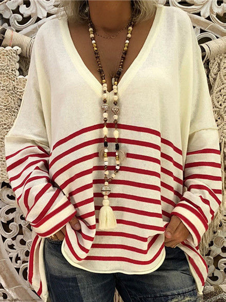Women Casual Long Sleeve Pullover V Neck Stripe Blouse
