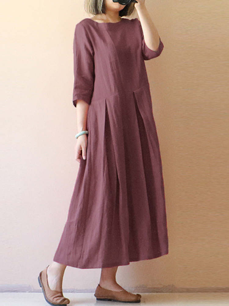 Women Short Sleeve Swing Hem Maxi Dress