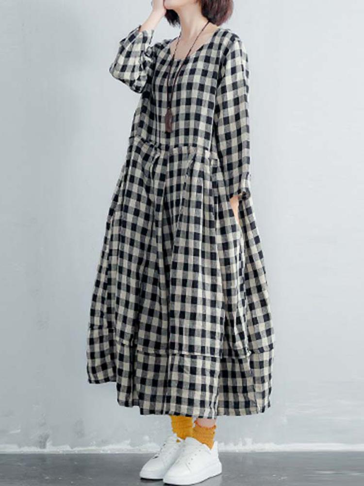 Women Long Sleeve Cotton Plaid Long Maxi Shirt Dress