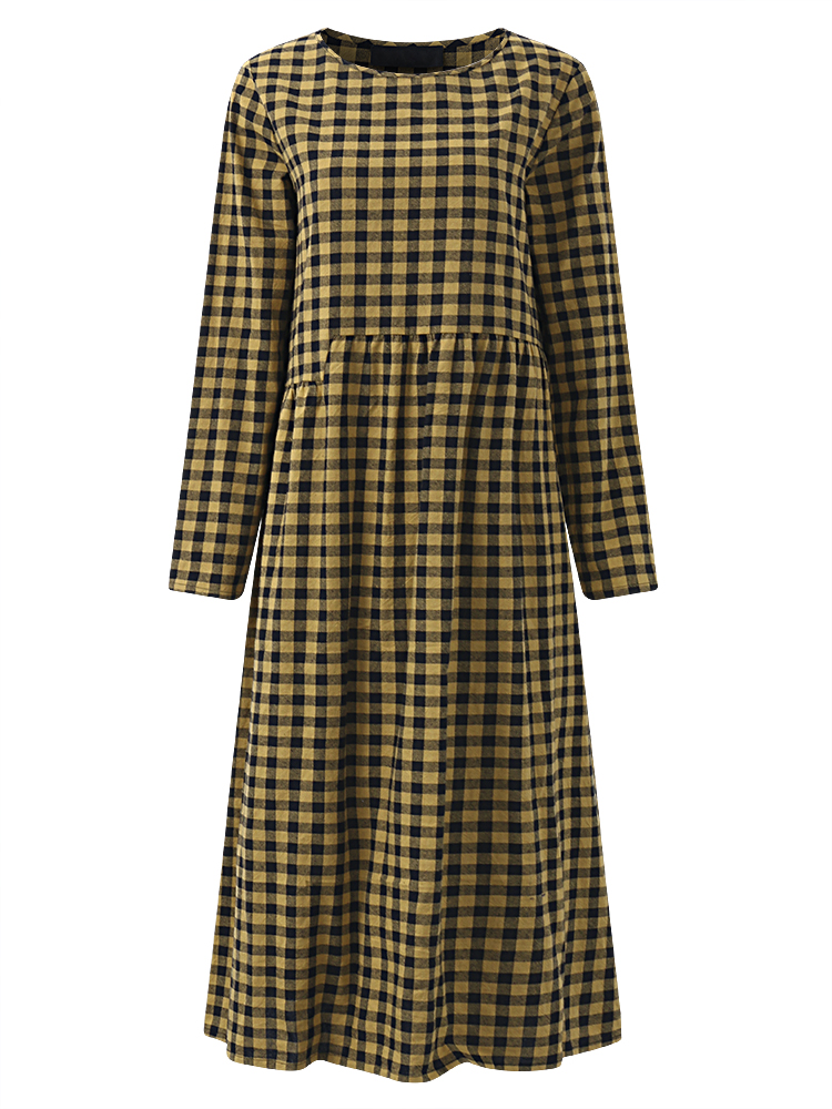 Gracila Women Plaid O-neck Long Sleeve Mid Long Dresses