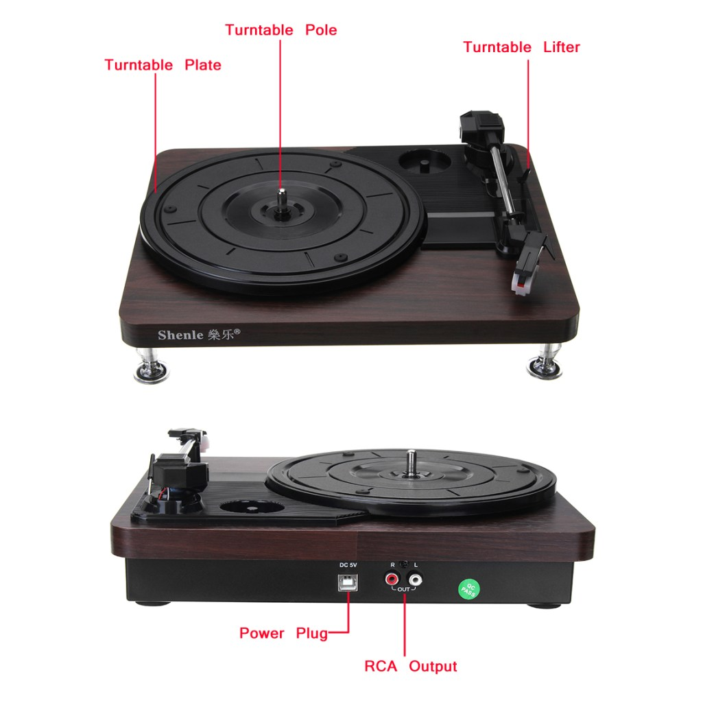 Shenle 33RPM Antique Gramophone Turntable Disc Vinyl Wood Record Player RCA R/L 3.5mm Output USB 35