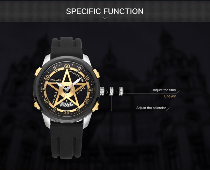 MEGIR 1073 Fashion Pentagram Military Men Quartz Wrist Watch