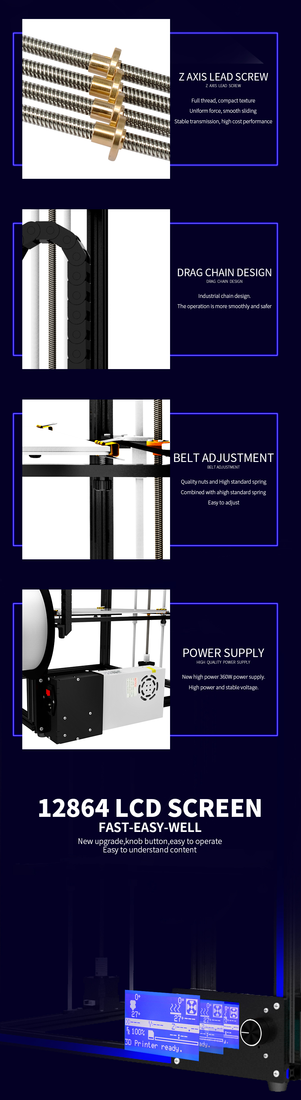 TRONXY® X5S-2E DIY Aluminium 3D Printer 330*330*400mm Printing Size Support Single/Dual/Mixed Color With Dual Z-axis Rod/Knob Button LCD Screen 8